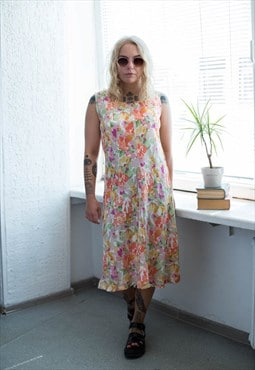 Vintage 80's Multicolour Floral Print Midi Sleeveless Dress