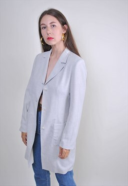 Vintage gray mnimalist long blazer, Size S