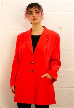 Vintage 80's Colour Escada Block Blazer in Coral Pink