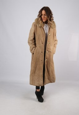 Sheepskin Suede Leather Shearling Coat UK 12 Medium (KJBL)