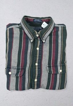 Vintage 90s Long Sleeve Stripe Shirt Multicolour XL
