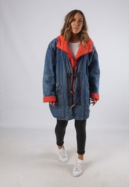 Vintage Denim Parka Jacket Oversized Long Hooded UK 16 (H4N)