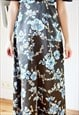 BROWN MAXI DRESS WITH BLUE FLOWERS
