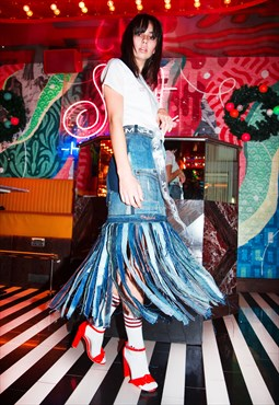 Skirt in Upcycled Patchwork Denim with Long Tassels