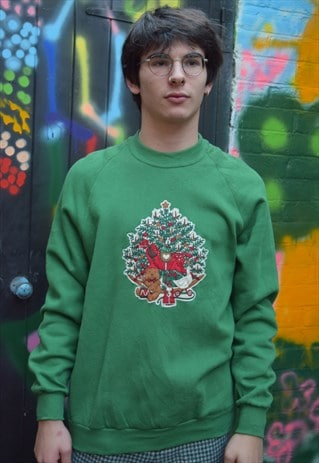 Green Vintage Christmas Jumper Sweater