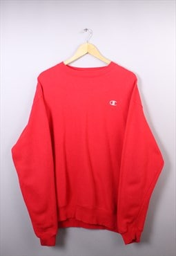 Vintage Mens Champion Cherry Red Embroidered Sweatshirt