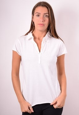 Levi's Womens Vintage Polo Shirt Medium White 90s