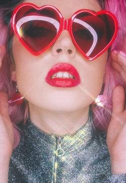 Heart Shaped Sunglasses - Lolita Retro Red