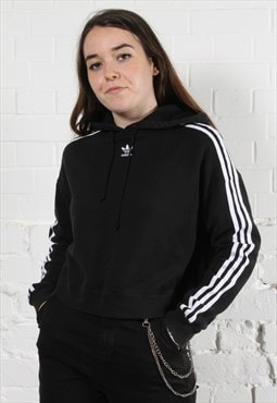 Vintage Adidas Originals Hoodie in Black w/ Spell Out Logo