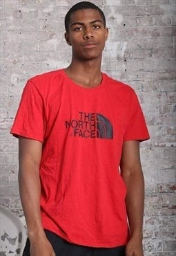 Vintage The North Face Big Logo T-Shirt Red