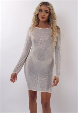 Nude Mesh Iridescent Rhinestone Studded Mini Dress
