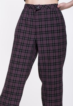 Vintage Purple Checked High Waist Trousers