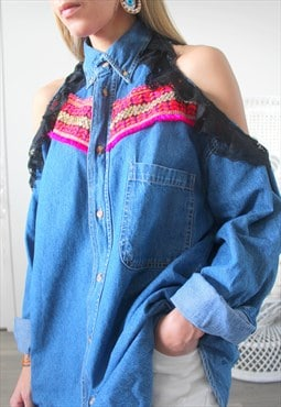 vintage denim shirt ethnic embroidery on front