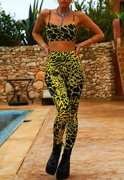 Legging & crop top co-ord in Yellow leopard print