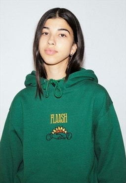 Hoodie in Dark Green with Embroidered Handshake Design