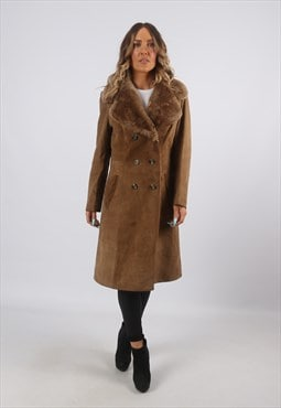 Faux Sheepskin Suede  Coat Jacket UK 10 (A8BF)