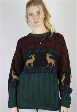 Vintage Knit Sweater in Green in Size M