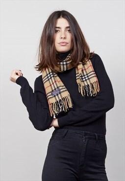 Vintage classic beige tartan burberry virgin wool scarf