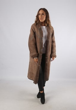 Vintage Sheepskin Suede Shearling Coat Long UK L 14  (K9CA)