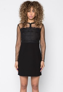 Black Lace mix Bomber Jacket Dress