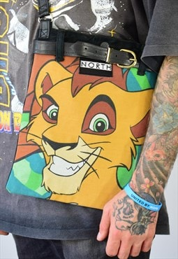 NORTH Repurposed Denim Disney Lion King Crossbody Bag Unisex