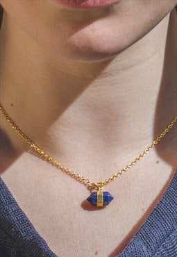 Lapis Lazuli Blue Natural Gemstone Geometric Necklace