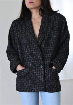 Vintage black/multi color tweed oversized jacket, blazer.