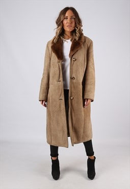 Sheepskin Suede Leather Coat UK 18 (9DO)