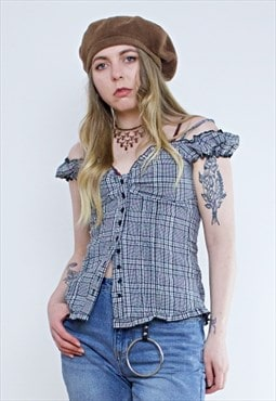 Vintage 90's Black & White Checked Bardot Grunge Top