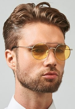 Ash Stainless Steel Round Mens Yellow Lens Sunglasses