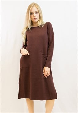 Fine knit oversized relaxed fit tunic jumper dress in wine