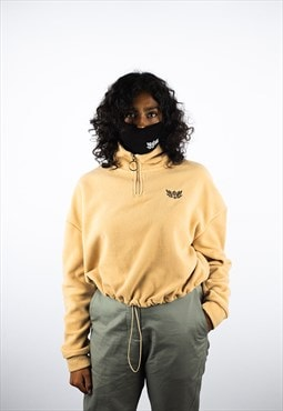 Lil Lotus Cropped Half Zip Fleece - Camel
