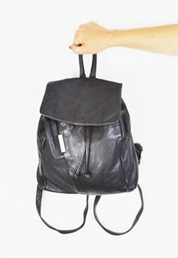 Black Leather Rucksack Bag