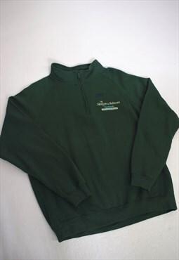 Vintage 90s Reebok Green 3/4 Zip Sweatshirt