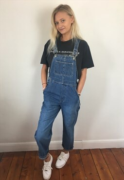 Vintage 90s Gap Full Length Long Dungarees Light Blue XS