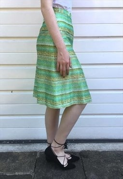 Womens vintage 70s skirt green high waist midi pleated skirt