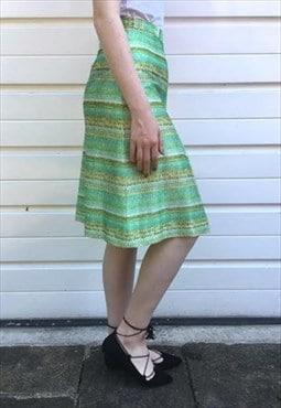 Womens vintage 70s skirt green high waist midi pleated skirt