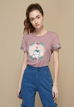 Sweet Fox Embroideiry Knitted T-Shirt