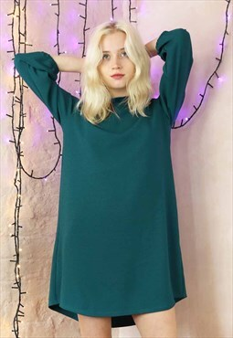 Relax Fit  Dress in Textured Sea Green