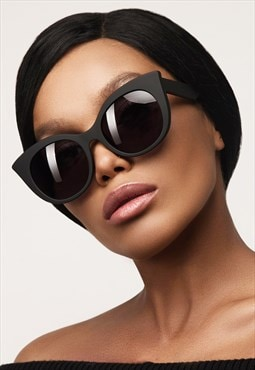 Large Matte Black Round Cat Eye Womens Fashion Sunglasses