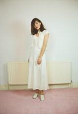 1970s vintage white long boho dress - Bridal Wedding Disco
