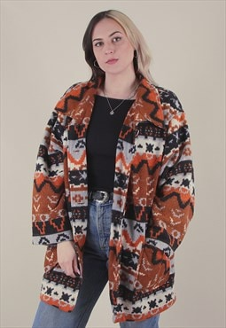 Vintage 90's Abstract Crazy Patterned Fleece Jacket /A10021