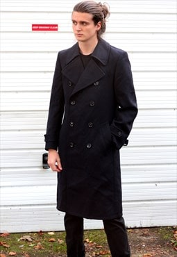1980's vintage black 3/4 long length trench coat