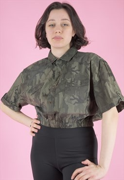 Vintage Reworked Army Shirt Short Sleeved in Camo Print