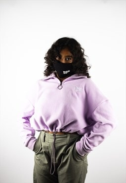 Lil Lotus Cropped Half Zip Fleece - Lilac