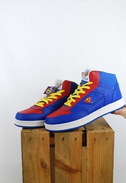 Rare DC Superman Hi Top Chunky Trainers Blue & Red