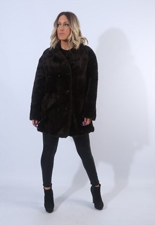 FAUX FUR COAT JACKET VINTAGE UK 14 - 16 (L9EL)