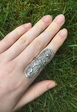 Womens Boho silver colour big chunky aztec ring jewellery