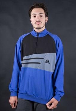 90's Adidas Blue/Black 1/4 Zip Minimal Sweatshirt - B1068