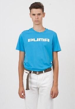 90s Vintage Blue PUMA Logo Crew Neck T-Shirt